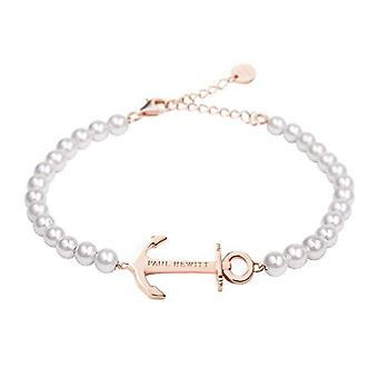 PAUL HEWITT Women's bracelet with Anchor Spirit pearls - Women's bracelet (white) with a stainless steel pendant (pink gold)
