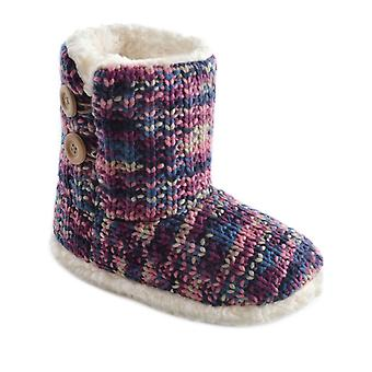 SlumberzzZ Womens Thick Knit Coral Fleece Lined Boot Slipper