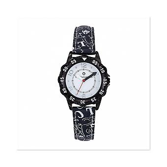 Watch Lulu Castagnette 38866 - P tale Bo tier Steel Black Leather Bracelet Black Black Black Cadran White Junior