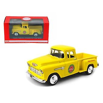 1955 Chevrolet Pickup Truck Stepside Coca Cola Yellow 1/43 Diecast Model by Motorcity Classics