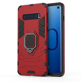 For Samsung Galaxy S10 Case, Red Armour Ring Holder Shockproof Hard Phone Cover