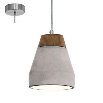 Eglo Tarega Single Concrete & Wood Pendant Light E27