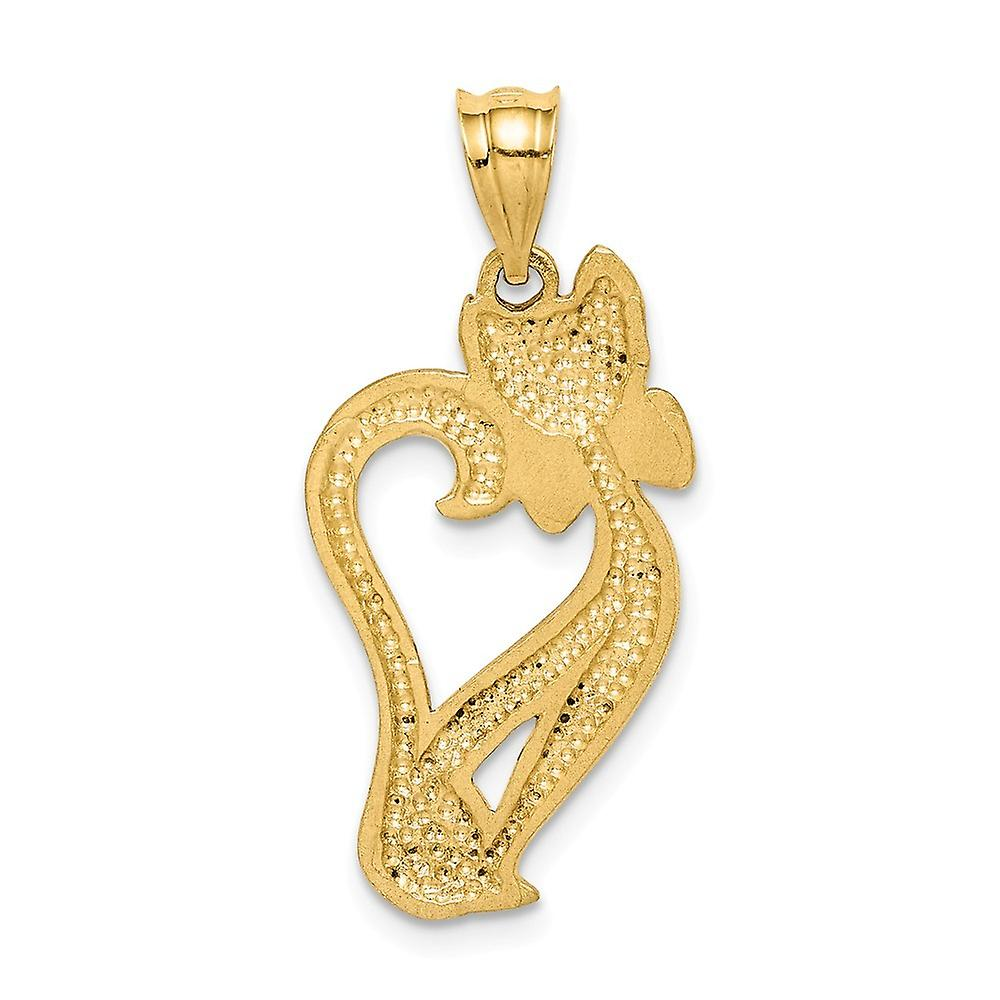 14k Brushed and Sparkle Cut Cat Pendant Necklace Jewelry Gifts for Women - 1.8 Grams