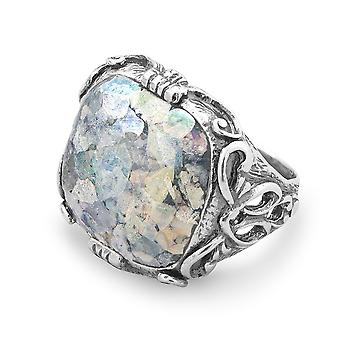 Ornate Oxidized 925 Sterling Silver Ring Large Soft Square Roman Glass Jewelry Gifts for Women - Ring Size: 6 to 10