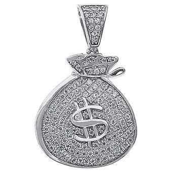 925 Sterling Silver Mens Round CZ Money Bag Cluster Charm Pendant Necklace Measures 29.9x18.5mm Wide Jewelry Gifts for M