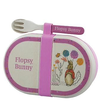Peter Rabbit Flopsy Pink snack box cutlery set New Baby Christening Gift