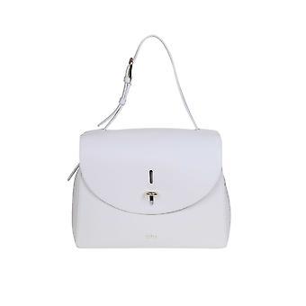 Furla 1056804 Women's White Leather Shoulder Bag