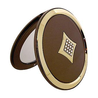 FMG Round 5x Magnification Compact Mirror made With Swarovski Crystals in a Presentation Box (Satin Gold)