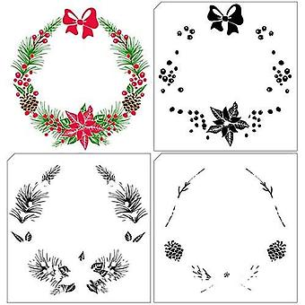 Nellie's Choice Layered Clearstamp - Christmas wreath 1 LCS005