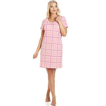 Camille Pink Checkered Cotton Nightdress