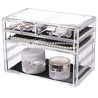 OnDisplay Cosmetic Makeup and Jewelry Storage Case Display - 4 Drawer Tiered Design - Perfect for Vanity, Bathroom Counter, or Dresser