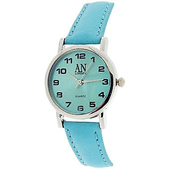 AN London Ladies Sky Blue Dial Silver Tone Case Sky Blue PU Strap Watch 8731S/07