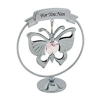 "Crystocraft Chrome Plated Hanging Mobile Butterfly Made With Swarovski Crystals on Circular Base Ornament ""For You Nan"""