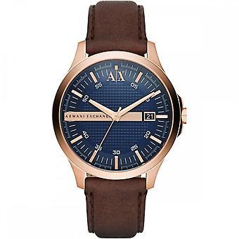 Armani Exchange Mens 'Hampton' Round Blue Dial Brown Leather Strap Watch AX2172