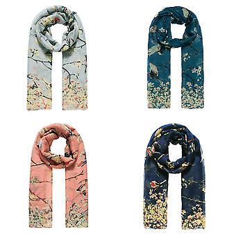 Jewelcity Womens / Dames Bird en Blossom Print Sjaal