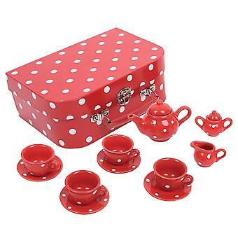Bigjigs Hračky Polka Dot Cín čaj set červená