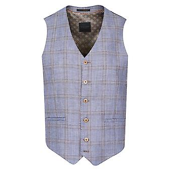 Guide London Light Blue With Tan Check Suit Waistcoat