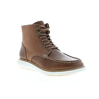 Robert Wayne Doug  Mens Brown Leather Lace Up Casual Dress Boots