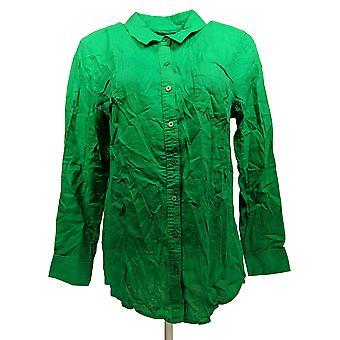 Denim & Co. Women's Top Linen Blend Long Sleeve Button Front Green A290190