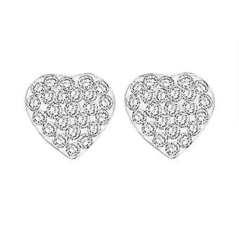 Tuscany Silver Women's Lobo Earrings in Silver Sterling 925 - with Crystal - 0.8 cm