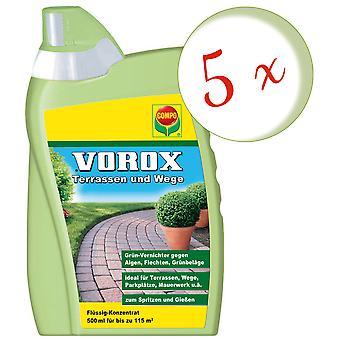 Sparset: 5 x COMPO Vorox® Terraces and Paths, 500 ml