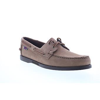 Sebago Portland NBK Wax Mens Brown Nubuck Leather Boat Shoes Loafers