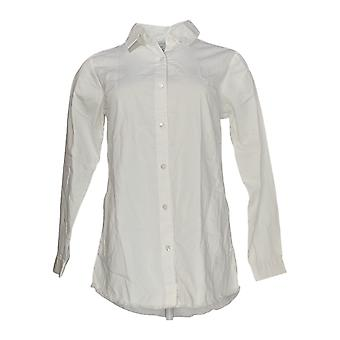 Joan Rivers Women's Top XXS Lightweight Denim Shirt w/Fringe White A343401