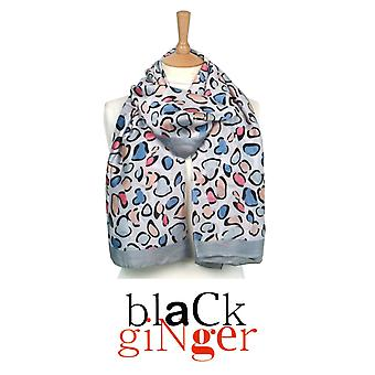"""Black Ginger"" Grey Silk Feel Animal Style Print Scarf"