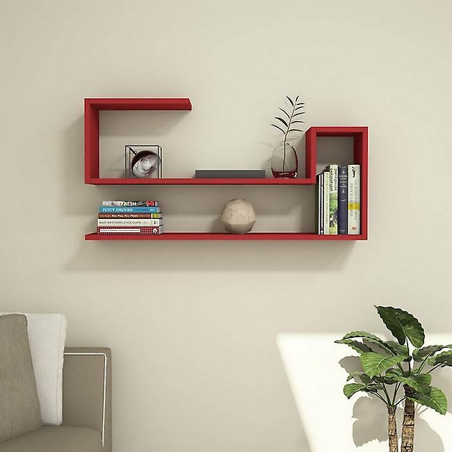 Mensola Airy Color Rosso in Truciolare Melaminico, PVC 100x22x50 cm