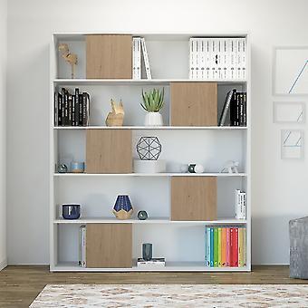 Libreria Sam Color Bianco, Legno Naturale in Truciolare Melaminico 150x29x180 cm