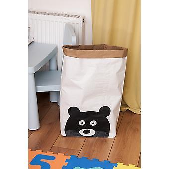 Cesta de urso engraçado Cor Branca, Preta em Placa Kraft, Vinil, L50xP15xA60 cm