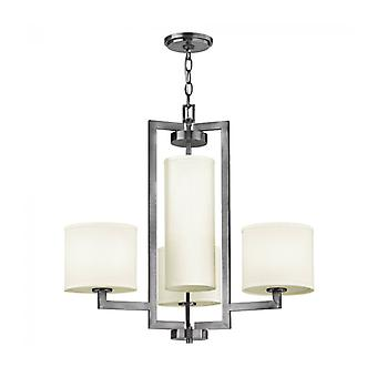 Hampton Pendant Light, Antique Nickel And Acrylic, Off-white Lampshade, 4 Bulbs