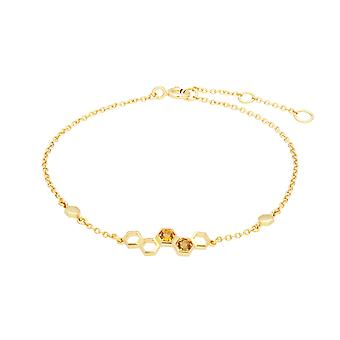 Honeycomb Inspired Citrine Link Bracelet in 9ct Yellow Gold 135L0305019