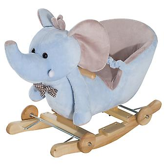 HOMCOM 2 In 1 Plush Baby Ride on Rocking Horse Elephant Rocker with Wheels Wooden Toy for Kids 32 Songs (Blue)