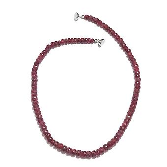 Bead Strand Ruby Necklace for Women Sterling Silver Size 20