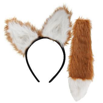 Fox set 2 stuks hoofdband met oren foxtail dierlijke kostuum accessoire carnaval