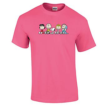 Peanuts The Gang Sit Down Men's Neon T-Shirt