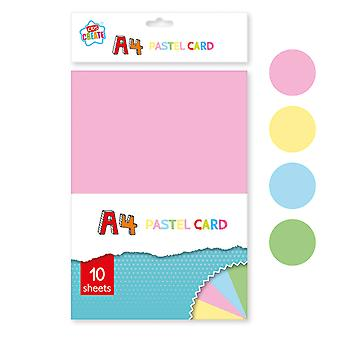 10 Sheets A4 Assorted Pastel Coloured Card