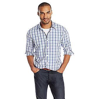 Goodthreads Men&s Standard-Fit Long-Sleeve Gingham Plaid Poplin Koszula, Niebieski / G ...