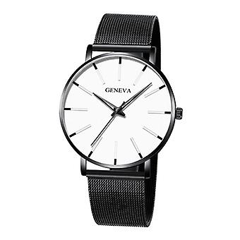 Geneva Quartz Watch - Anologue Luxury Movement for Men and Women - Stainless Steel - Black and White