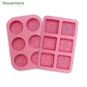 3d Round & Square 6 Cavity Silicone Soap Mold For Making Cake Chocolate