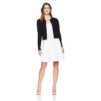 Marke - Lark & Ro Frauen's Crewneck abgeschnitten Strickjacke Pullover, schwarz, Ich...