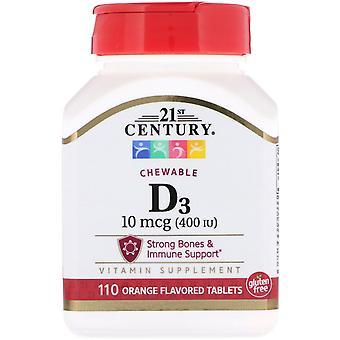 21st Century, Vitamin D3, Tyggebar, Oransje Smaksatt, 400 IE, 110 Tabletter