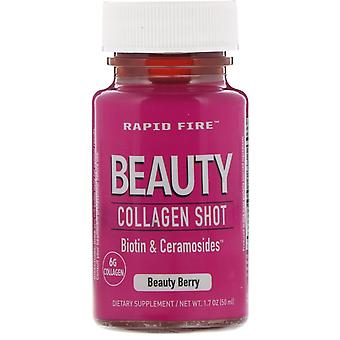 RAPIDFIRE, Beauty Collagen Shot, Biotin & Ceramosides, Beauty Berry, 6 g, 1.7 oz