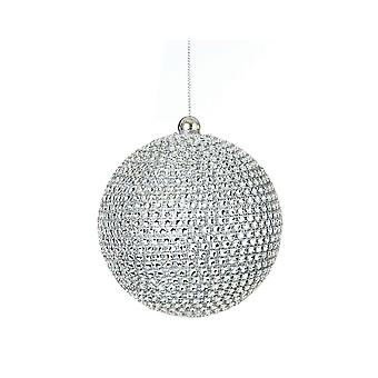 10cm Silver Diamante Bauble for Tree and Home