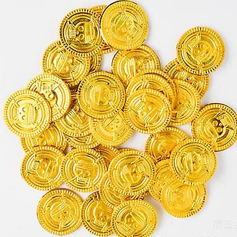 50pcs Simulation Pirates Gold Coins For Kids Toys- Party Supplies Treasure Interactive Games