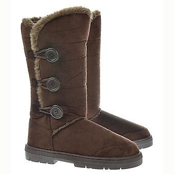 Ella Triple 3 Button Fur Lined Flat Winter Boot - Chestnut Brown, Black, Grey