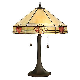 2 Lâmpada de mesa média clara bronze escuro, vidro Tiffany, E27