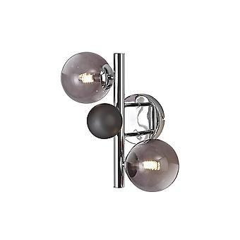 Éclairage Luminosa - Lampe murale, 2 x G9, Chrome poli, Verre fumé