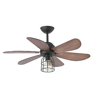 1 Light Small Ceiling Fan Black, Walnut with Light, E27